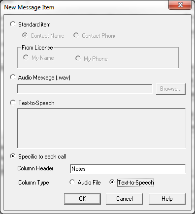 New Message Item Specific to each Call