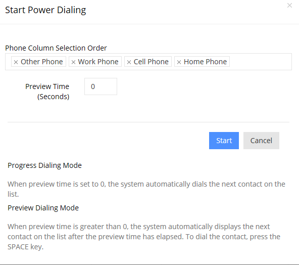 Power & Preview Dialer