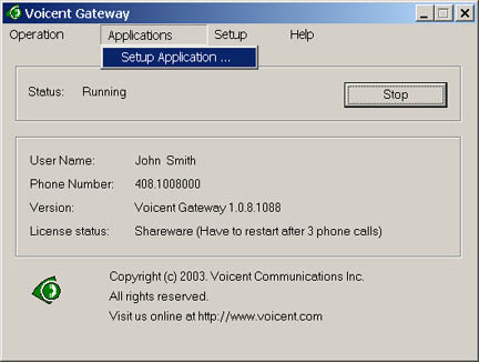 Voicent VoiceXML Gateway Screen shot