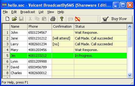 Click to view Voicent Broadcast By SMS 8.0.1 screenshot